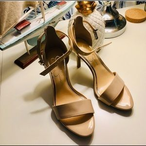 NWOT Beige Patent Leather Heels